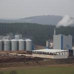 Das Anlagenensemble mit Kraftwerk (rechts) und Pelletwerk (links)