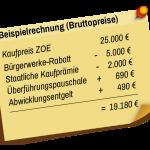 Beispielrechnung für den Elektroauto-Rabatt